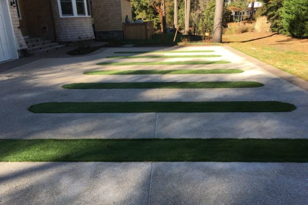 Driveway With Artificial Turf